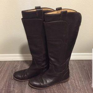 Dark brown frye boots 8